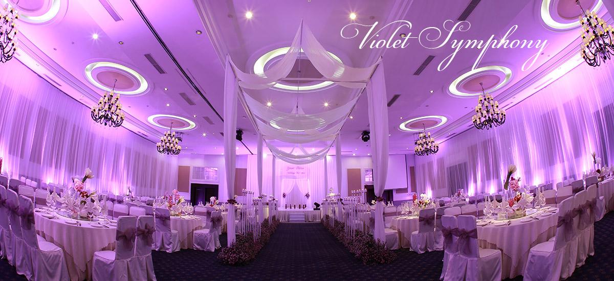Trang trí tiệc cưới màu tím