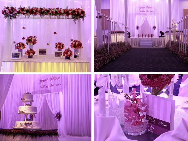 Trang trí tiệc cưới màu tím 1